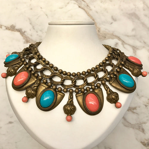 VRBA Signed Coral and Turquoise Collar Necklace
