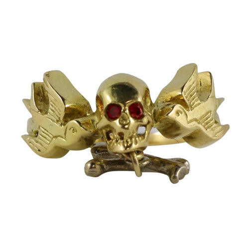 William Griffiths 18kt Gold Skull & Cross Bone Ring with Red Diamond Eyes