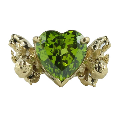 William Griffiths 18kt Gold Cherub Carrying Peridot Heart Ring