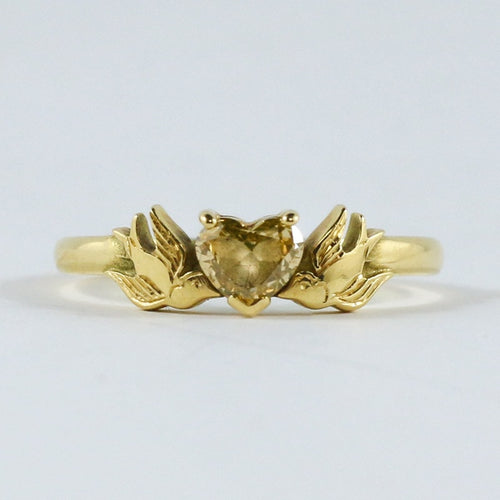 William Griffiths 18kt Gold Sparrows & Natural Yellow Diamond Heart Ring