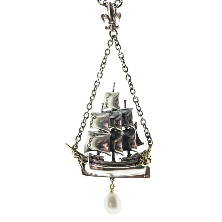 William Griffiths Sterling Silver Ship Necklace with 18ct Gold and White Pearl