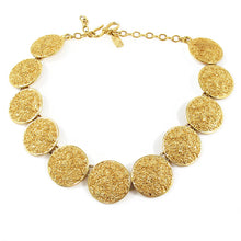 "Load image into Gallery viewer, Vintage Signed ""YSL"" Gold Disc Necklace c. 1970"