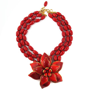 Pate-de-Verre (Hand-poured-glass) Red Flower Necklace