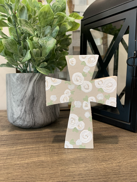 Creme Floral Mini Cross