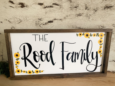 Family Name Sign With Flowers