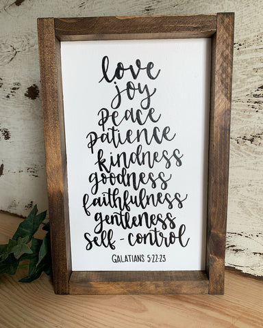 Fruits of the Spirit Sign // Love Joy Peace Patience Kindness Goodness Faithfulness Gentleness Self-Control - Galatians 5:22-23