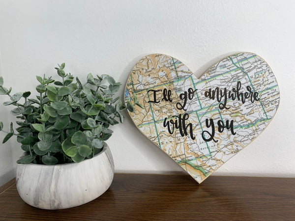 I'll Go Anywhere With You Heart Cutout Map