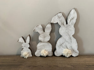 Distressed White Tall and Side Bunnies