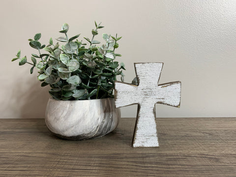 Distressed White Mini Cross