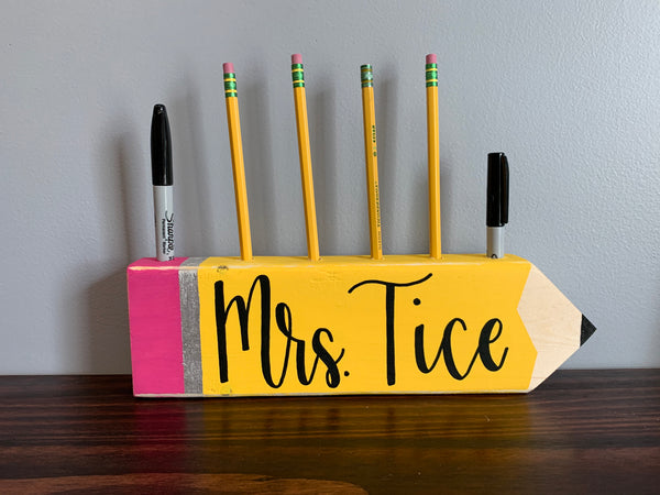 Small or Large Pencil With Pencil Holes - Personalized