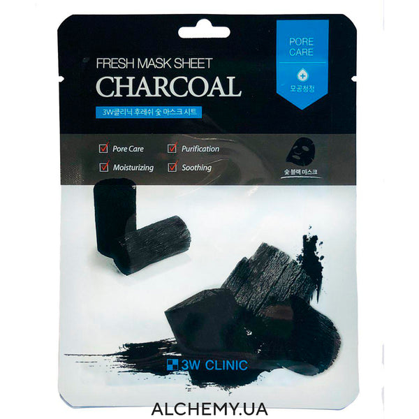 Тканевая маска 3W CLINIC Fresh Mask Sheet Charcoal Alchemy.com.ua