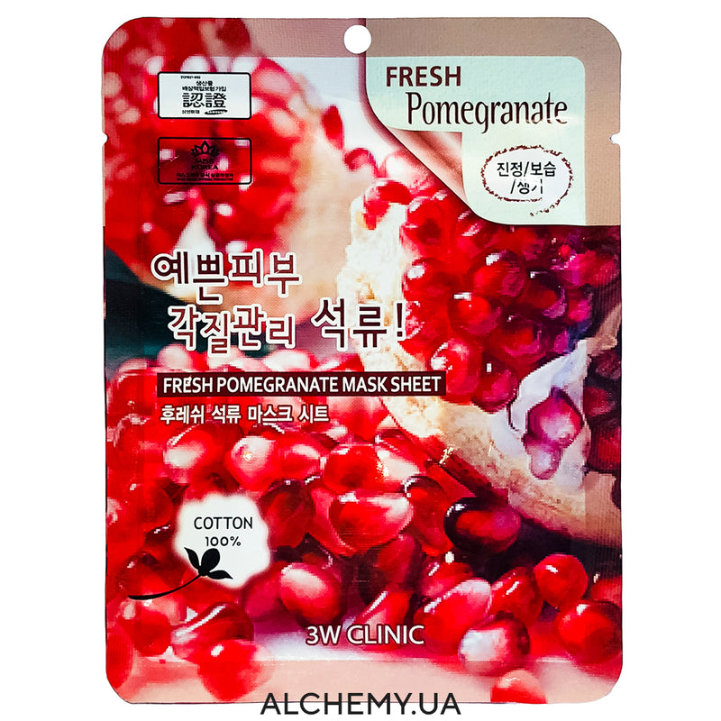 Тканевая маска 3W CLINIC Fresh Mask Sheet Pomegranate Alchemy.com.ua