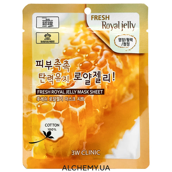 Тканевая маска 3W CLINIC Fresh Mask Sheet Royal Jelly Alchemy.com.ua