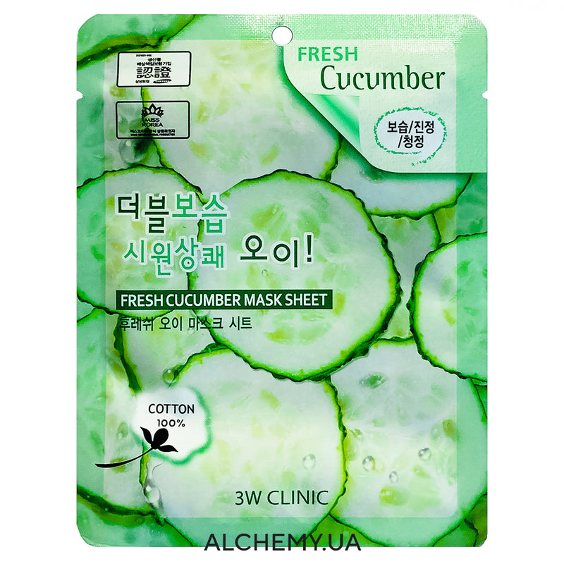 Тканевая маска 3W CLINIC Fresh Mask Sheet Cucumber