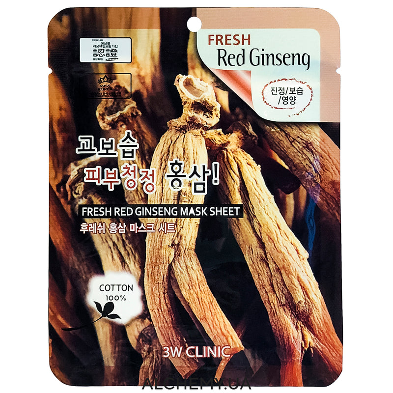 Тканевая маска 3W CLINIC Fresh Mask Sheet  Red Ginsing