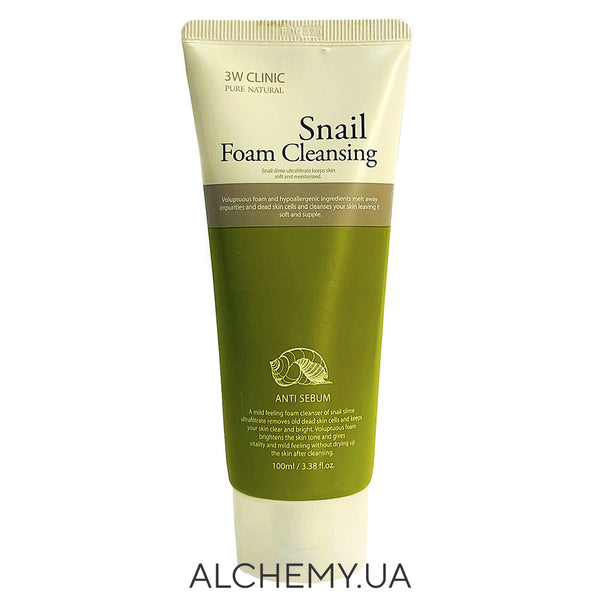 Пенка для умывания 3W CLINIC Snail Foam Cleansing 100 ml Alchemy.com.ua