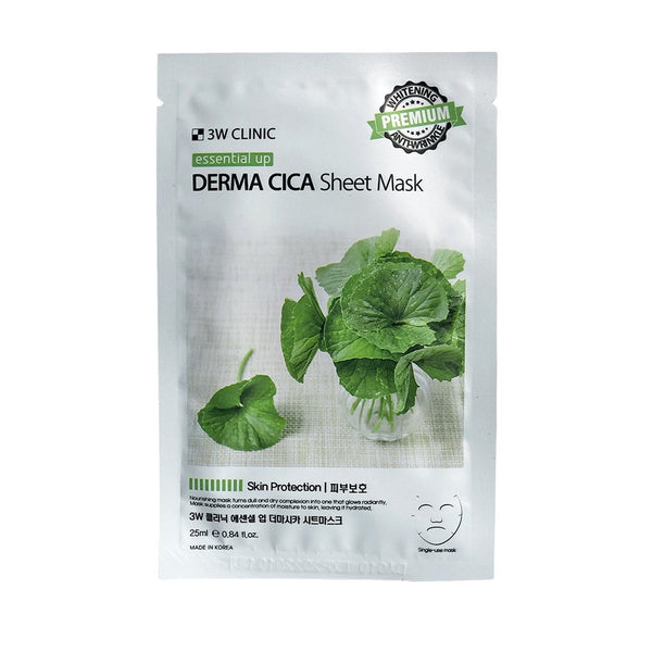 Заживляющая тканевая маска 3W CLINIC Essential Up Derma Cica Sheet Mask с экстрактом центеллы