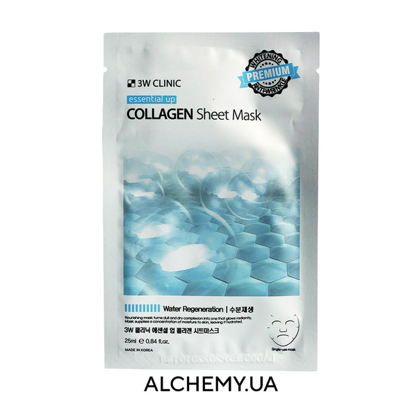 Omolazhivayushaya tkanevaya maska 3W CLINIC Essential Up Collagen Sheet Mask s kollagenom