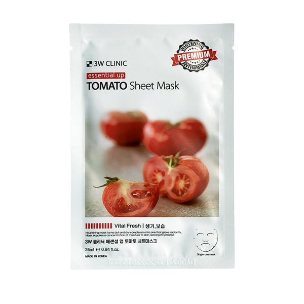 Осветляющая тканевая маска 3W CLINIC Essential Up Tomato Sheet Mask