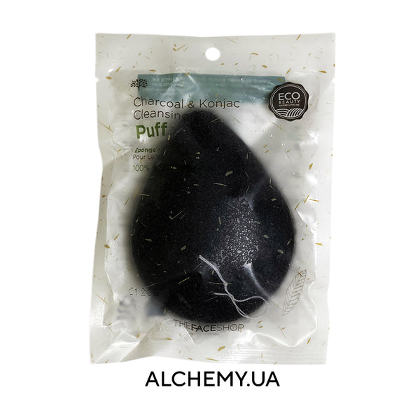 Очищающий спонж конняку THE FACE SHOP Daily Beauty Tools Charcoal & Konjac Cleansing Puff 1pcs