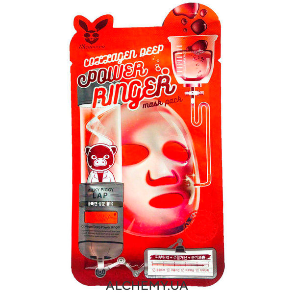 Тканевая маска ELIZAVECCA Collagen Deep Power Ringer Mask Pack Alchemy.com.ua