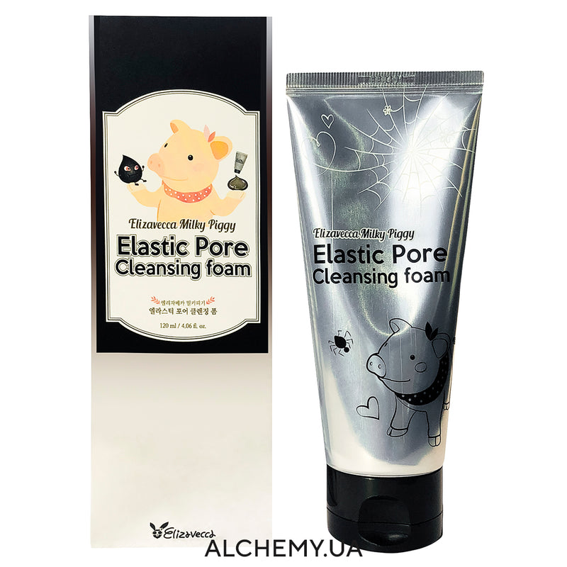 Угольная пенка для умывания ELIZAVECCA Milky Piggy Elastic Pore Cleansing Foam 120ml