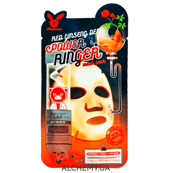Тканевая маска ELIZAVECCA Red Ginseng Deep Power Ringer Mask Pack Alchemy.com.ua