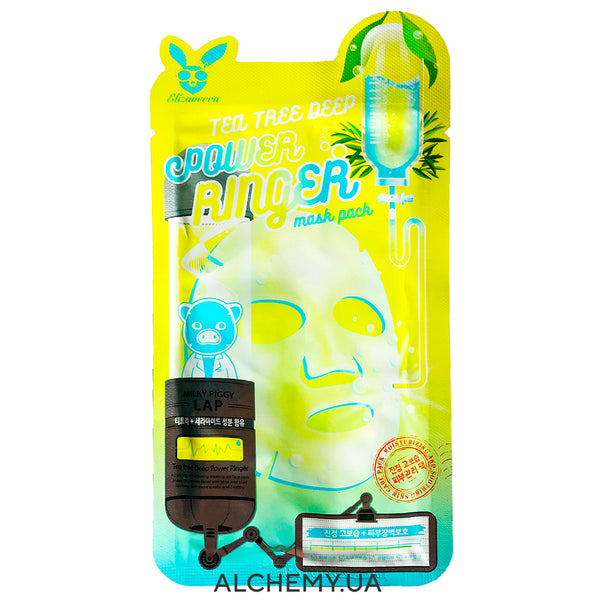 Тканевая маска ELIZAVECCA Tea Tree Deep Power Ringer Mask Pack Alchemy.com.ua