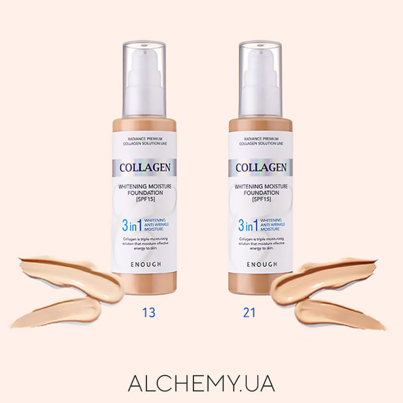 Тональная основа ENOUGH Collagen Whitening Moisture Foundation 3 in 1 (SPF15+); №13; 100 ml Alchemy.com.ua