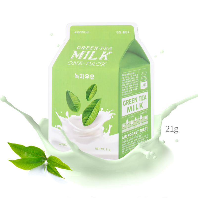 Успокаивающая тканевая маска A'PIEU Green Tea Milk One-Pack Soothing Alchemy.com.ua