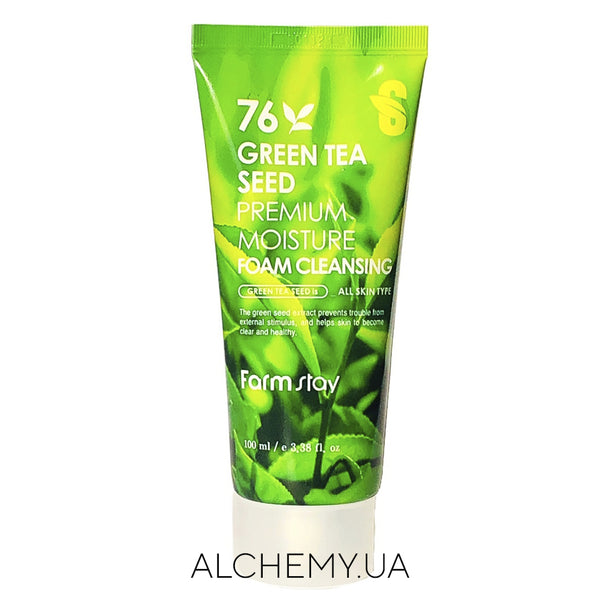 Ezhednevnaya penka dlya umyvaniya Farm Stay Green Tea Seed Premium Moisture Foam Cleansing 100 ml