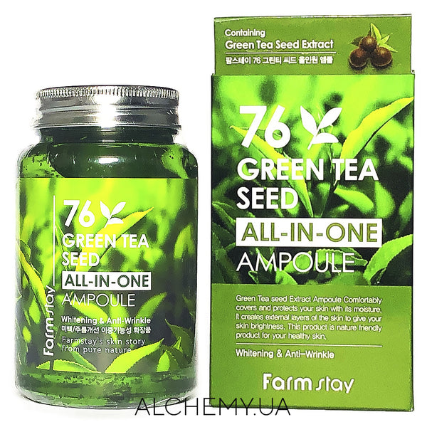 Uspokaivayushaya syvorotka Farm Stay 76 Green Tea Seed All-In-One Ampoule 250 ml