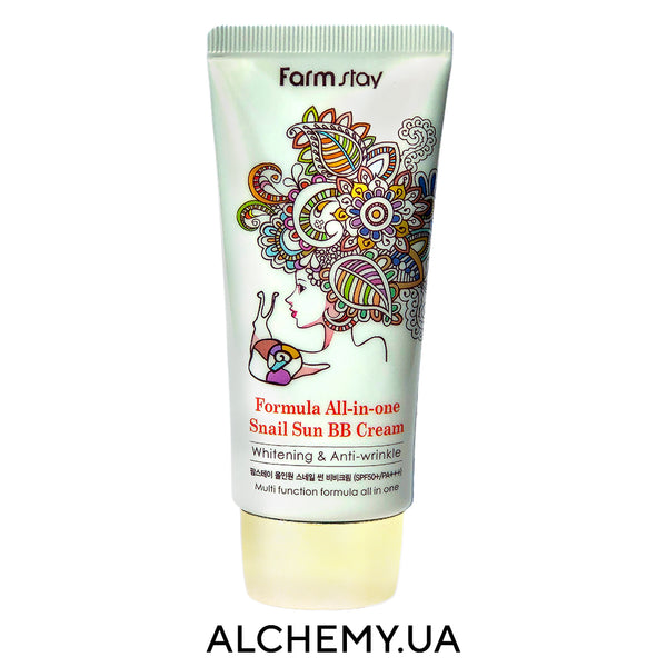 Идеальный летний ББ-крем Farm Stay Formula All In One Snail Sun BB Cream SPF50+ PA+++ 50g