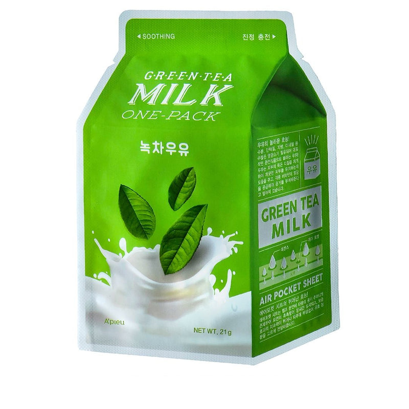 Uspokaivayushaya tkanevaya maska A'PIEU Green Tea Milk One-Pack Soothing