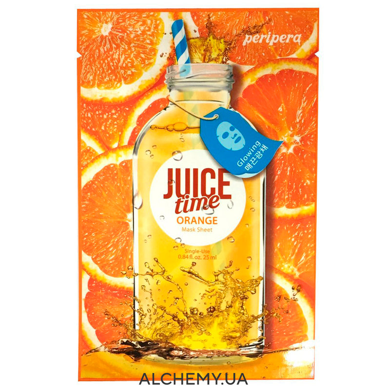 Тканевая маска PERIPERA Juice Time Mask Sheet Type Orange Glowing