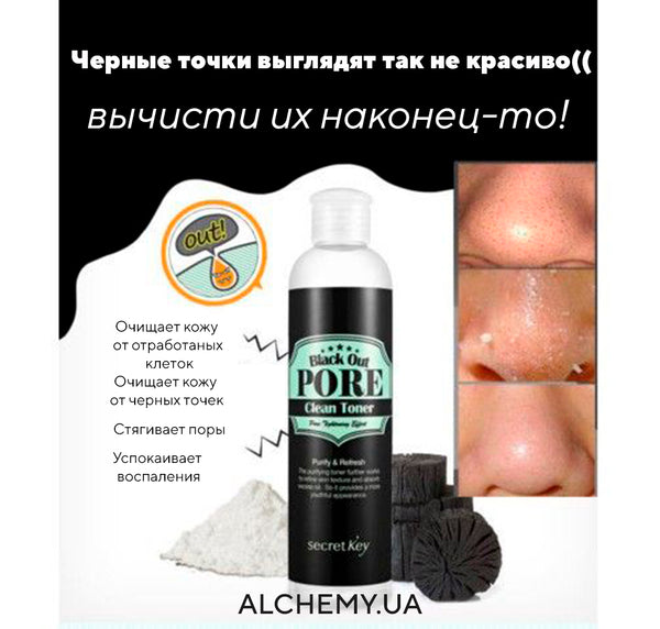 Тонер для проблемной кожи Secret Key Black Out Pore Clean Toner 250ml Alchemy.com.ua