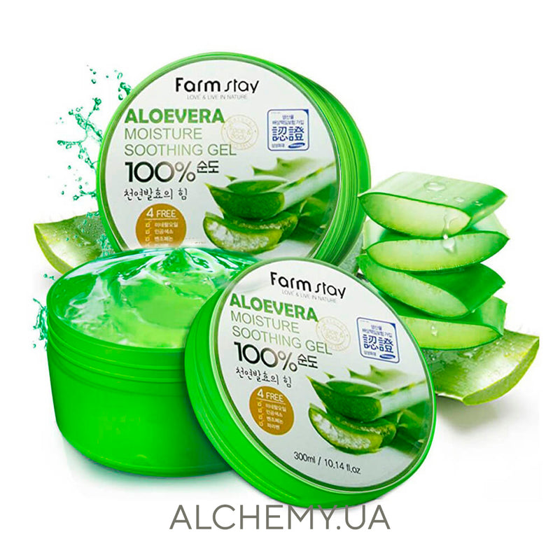 Универсальный гель с алоэ FARM STAY Moisture Soothing Gel Aloevera - 300 ml Alchemy.com.ua
