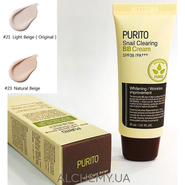 BB крем с муцином улитки Purito Snail Clearing BB Cream SPF38 PA+++ №21 Alchemy.com.ua