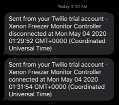Twilio device disconnect SMS notification