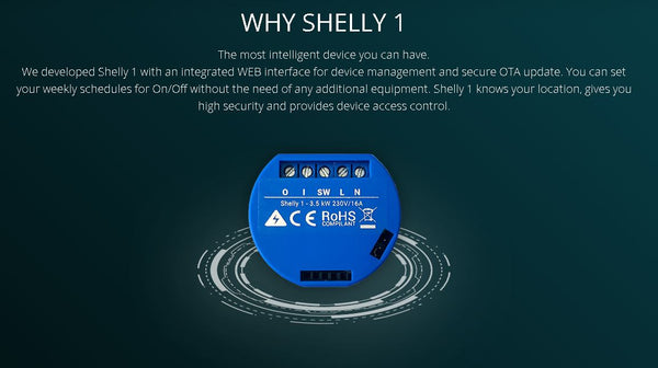 Shelly 1 WiFi Operated Relay Switch