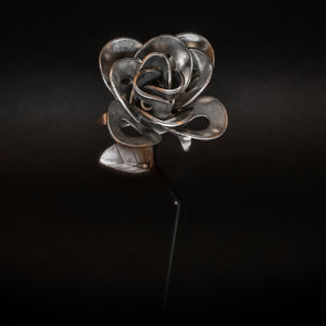 Half Dozen Metal Roses and Vase, Six Recycled Metal Roses and Vase, Immortal Roses.