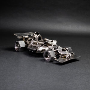 Scrap Metal Formula 1 Car, Steel Indy Car Figurine, Nuts and Bolts Racecar Sculpture