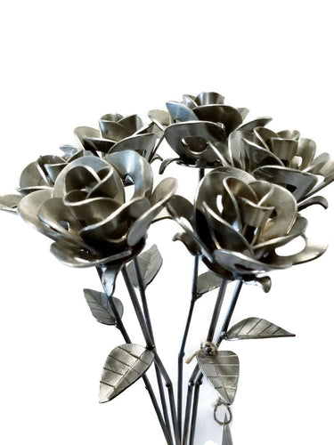 Half Dozen Metal Roses, Six Metal Roses, Welded Metal Rose Sculptures, Immortal Forever Roses.