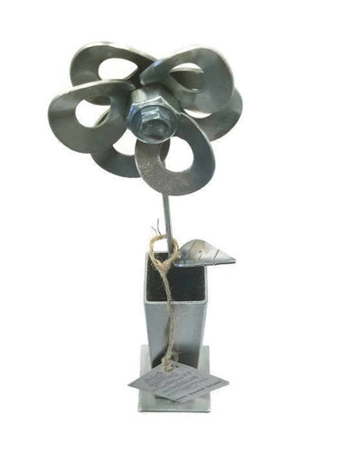 Metal Flower and Vase, Recycled Steel Metal Flower with Vase, Steampunk Flower.