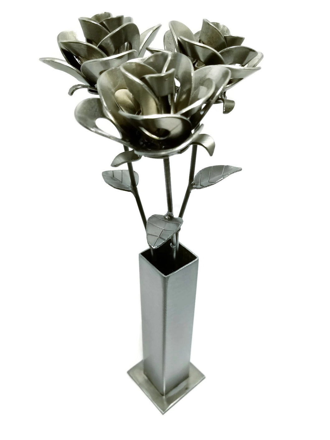 Three Metal Roses and Vase, Metal Roses and Vase, Steampunk Roses Centerpiece, Forever Roses.
