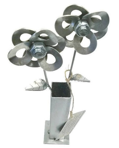 Two Metal Flowers and Vase, Steel Flowers and Vase, Welded Art Sculpture, Steampunk Flowers.