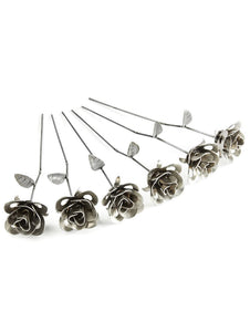 Half Dozen Metal Roses, Six Metal Roses, Welded Metal Rose Sculptures, Immortal Roses.