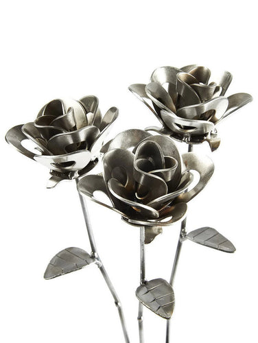 Three Metal Roses, Welded Steel Roses, Metal Immortal Roses, Steampunk Roses, Forever Roses.