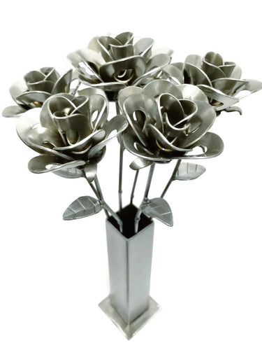 Half Dozen Metal Roses and Vase, Six Recycled Metal Roses and Vase, Forever Roses.