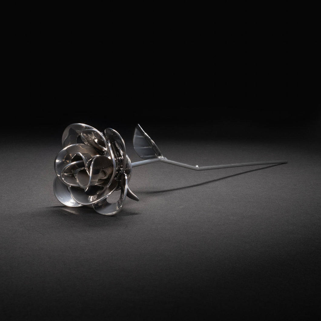 Chrome Immortal Rose, Recycled Metal Rose, Steel Rose Sculpture, Welded Rose Art, Steampunk Rose, Unique Gift for Valentine's Day.